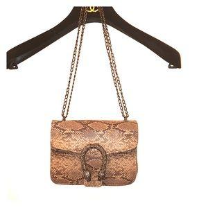 Shoulder Bag Brown Snakeskin